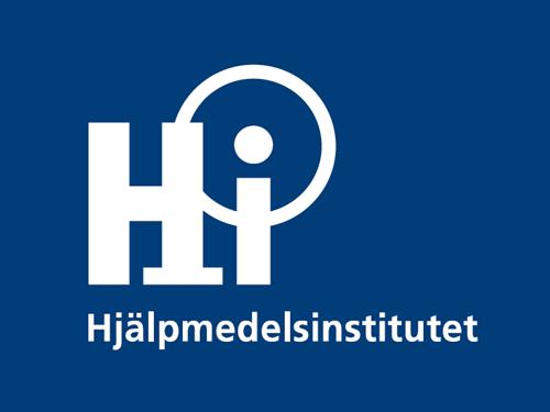 Hjälpmedelsinstitutets logotyp på blå bakgrund från rapporten Nyttokostnadsanalys vid införande av välfärdsteknologi